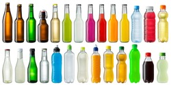collection of various cold beverage bottles