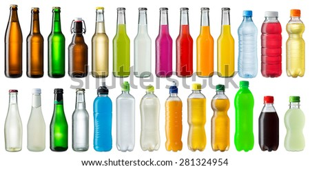 Shutterstock collection of various cold beverage bottles