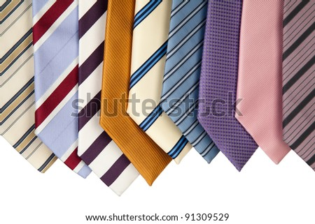 collection of various colorful neckties for men.