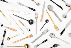 Collection of various cutlery on white background, flat lay,  top view,