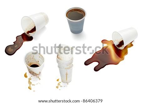 collection of various empty used coffee cups on. each one is shot separately
