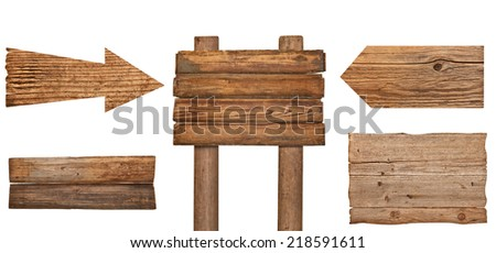 collection of various  empty wooden sign on white background. each one is shot separately #218591611