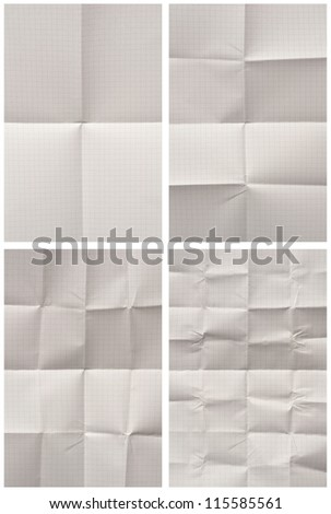 collection of various folded blank graph paper on white background. each one is shot separately