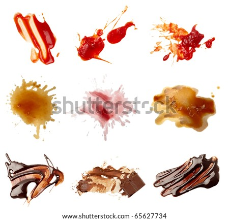collection of various food stains from ketchup, chocolate, coffee and wine on white background. each one is shot separately