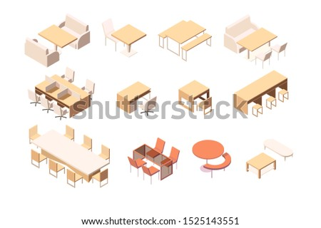 Collection of various furniture for various institutions and workplace. Concept set with table and chairs, icons. Low poly. 3d isometric illustration.