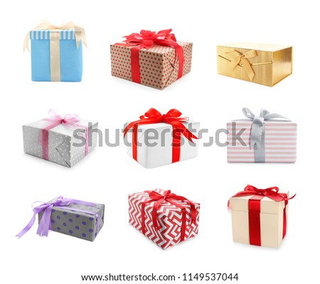 Collection of various gift boxes on white background