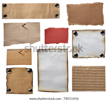 collection of various grunge note papers on white background. each one is shot separately