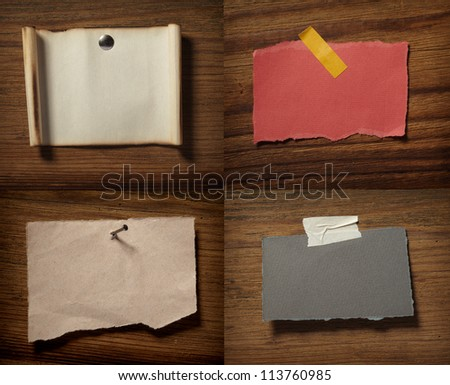 collection of various grunge note papers on wooden background