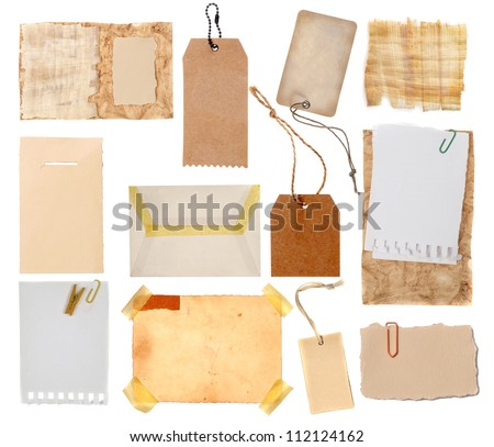 Collection of various grunge paper pieces on white background.