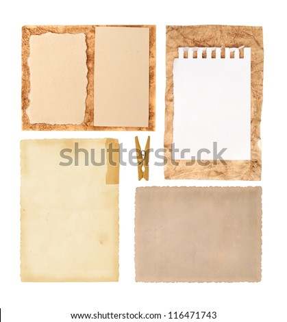 Collection of various grunge paper pieces on white background. each one is shot separately