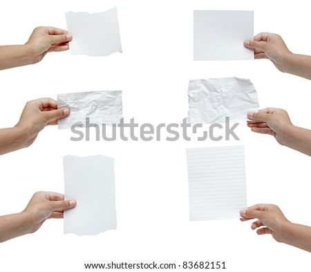 collection of various hand holding blank crumpled note on white background. each one is shot separately
