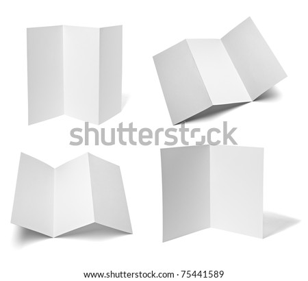 collection of various leaflet blank white paper on white background. each one is shot separately
