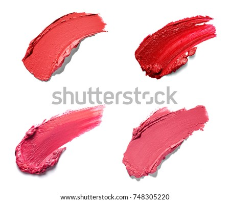 collection of various lipstick paint on white background. each one is shot separately