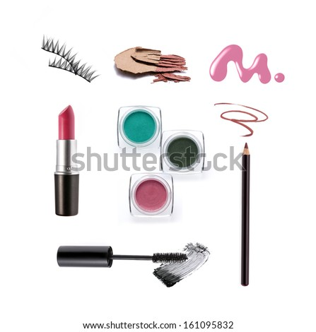 Collection of various make up accessories isolated on white