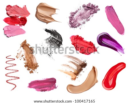 collection of  various make up accessories on white background. each one is shot separately - stock photo