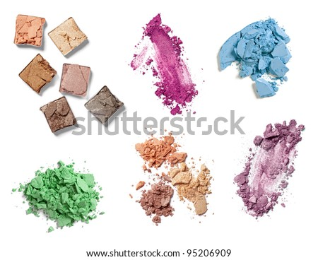 collection of various   make up powder on white background. each one is shot separately - stock photo