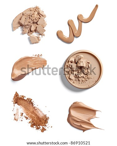 collection of  various make up powder strokes on white background. each one is shot separately