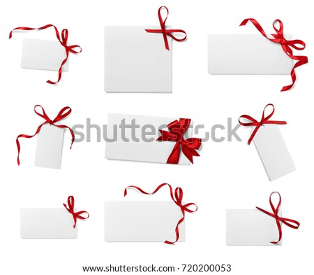 collection of various note card with ribbon bow on white background. each one is shot separately #720200053