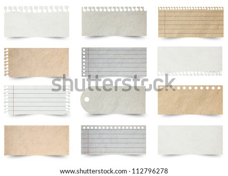 Collection of various note papers, isolated on white background (Save Paths For design work)