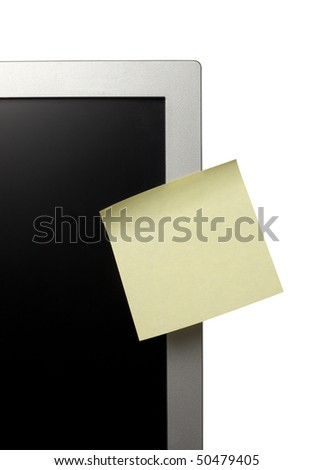 collection of various note papers  on computer monitor, on white background with clipping path
