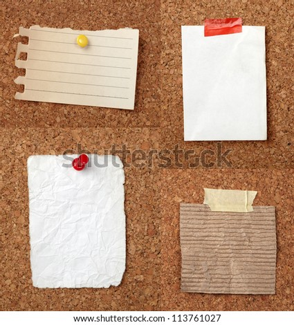 collection of various note papers  on cork board