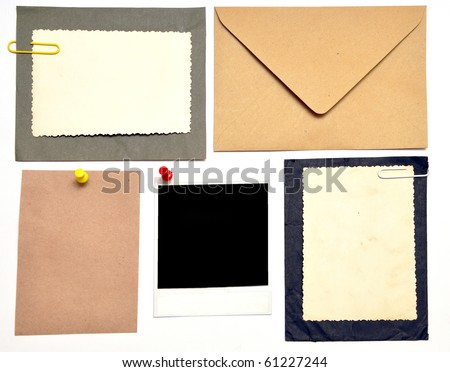 collection of various note papers on white
