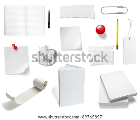 collection of various office papers and objects on white background. each one is shot separately