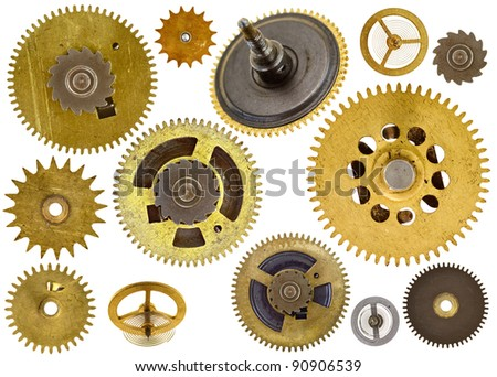 Collection of various old cogwheels - gears - on white background