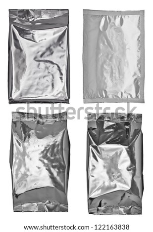 collection of various paper and aluminum bags on white background. each one is shot separately