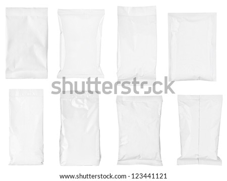 collection of various paper bags on white background. each one is shot separately