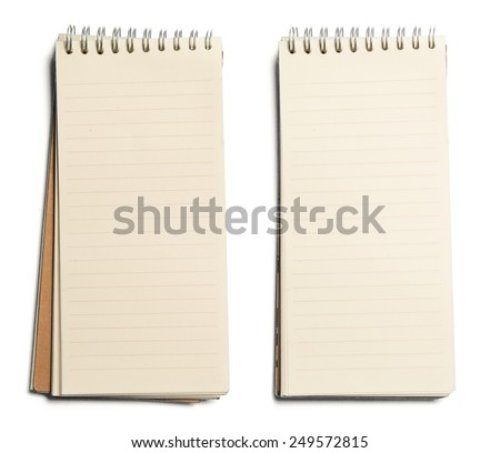 collection of various paper page notebook. textured isolated on the white backgrounds #249572815