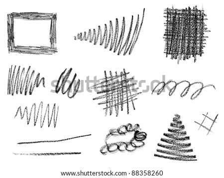 collection of  various pencil strokes on white background. each one is shot separately