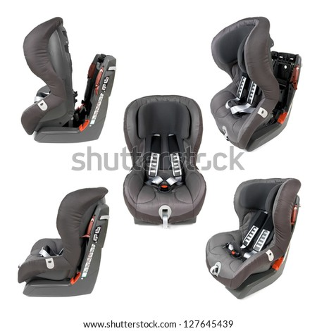 Collection of various photos of a safety car seat isolated on white background.