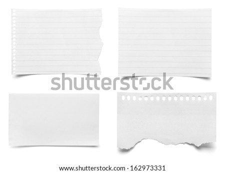 collection of various pieces of note paper on white background. each one is shot separately #162973331