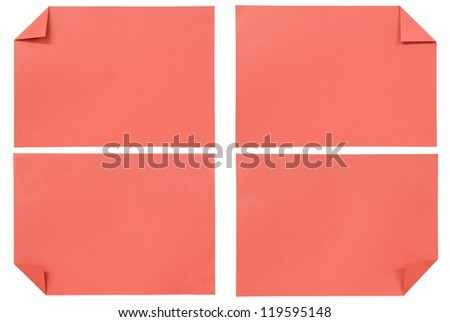 collection of various red paper isolated on white
