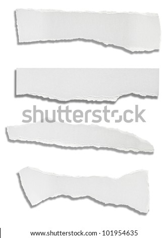 collection of various ripped white papers on white background. each one is shot separately