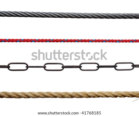 collection of various ropes and chains on white background. each one is in cameras full resolution