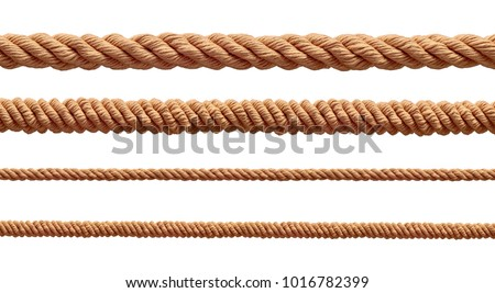 collection of  various ropes string on white background. each one is shot separately #1016782399