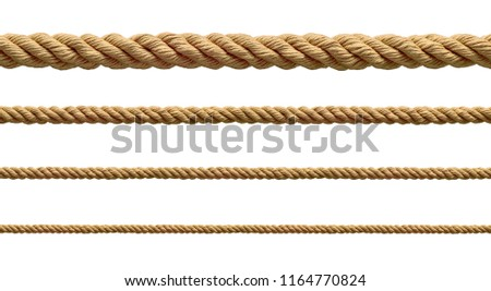 collection of  various ropes string on white background. each one is shot separately #1164770824