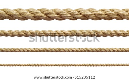 Shutterstock collection of  various ropes string on white background. each one is shot separately