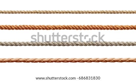 collection of  various ropes string on white background. each one is shot separately #686831830