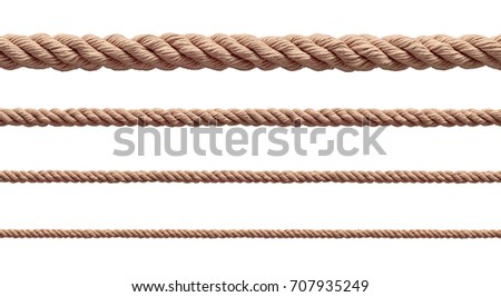 collection of  various ropes string on white background. each one is shot separately #707935249