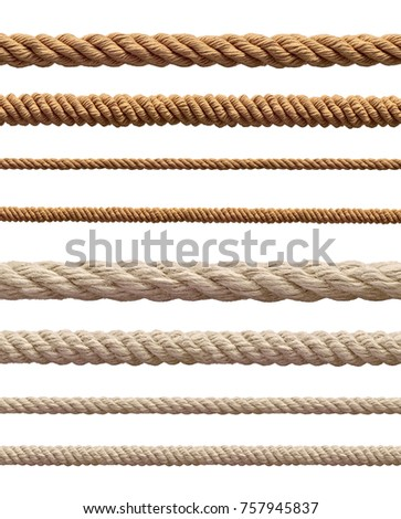 collection of  various ropes string on white background. each one is shot separately #757945837