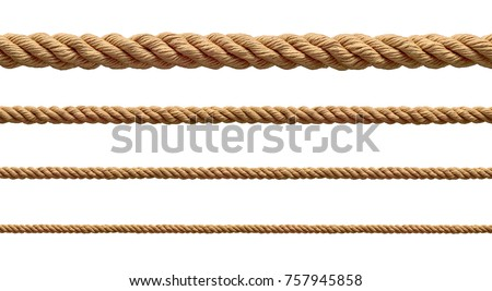 Photo of  collection of  various ropes string on white background. each one is shot separately