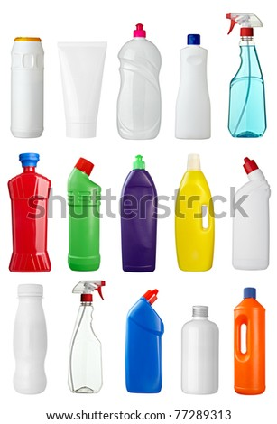 collection of various sanitary hygiene bottles on white background. each one is shot separately