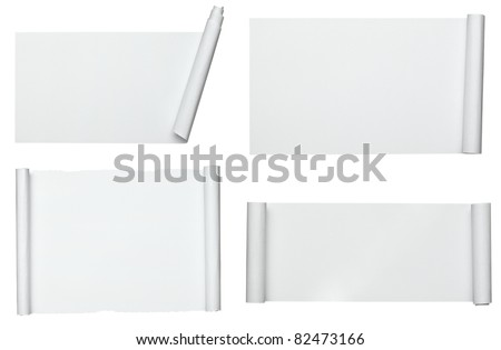 collection of  various scroll paper on white background. each one is shot separately ストックフォト ©