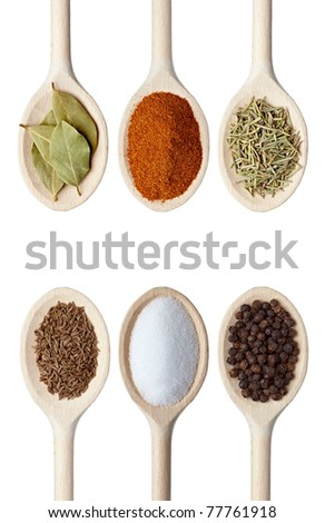 collection of various seasoning in wooden spoons on white background. each one is shot separately