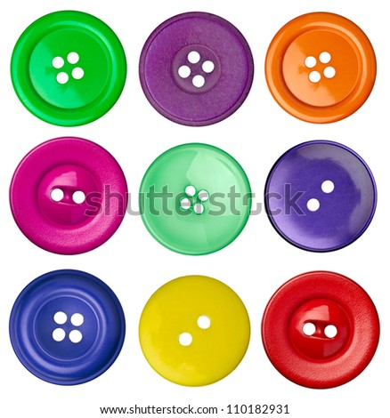 collection of various sewing button on white background #110182931