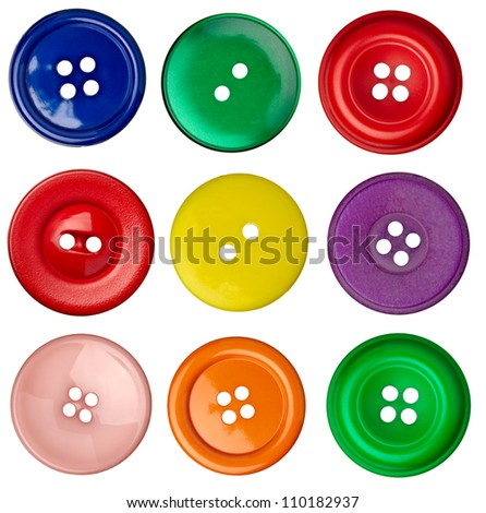 collection of various sewing button on white background #110182937