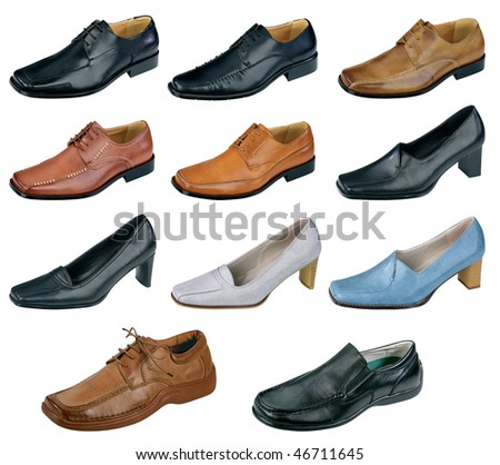 Collection of various shoes isolated on white background